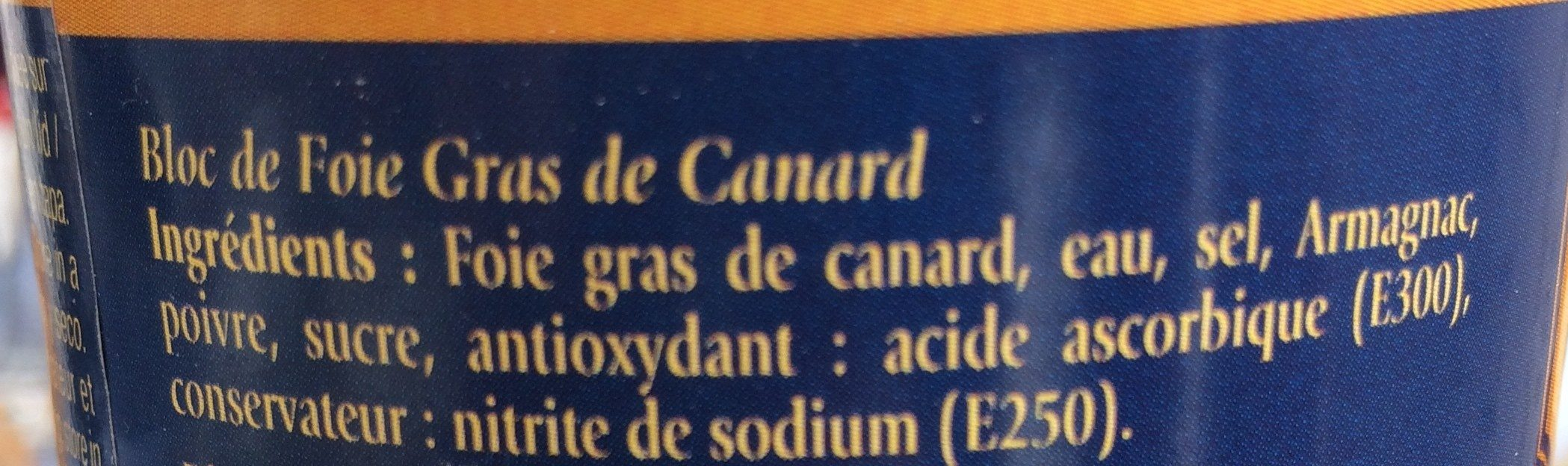 Bloc de Foie Gras de Canard - Ingredients - fr