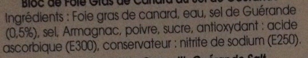 Bloc de Foie Gras de Canard au Sel de Guérande - Ingredients - fr