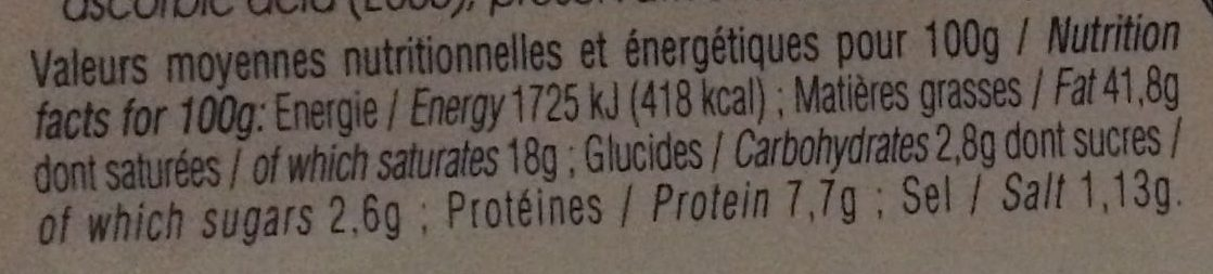 Bloc de Foie Gras de Canard au Sel de Guérande - Nutrition facts - fr