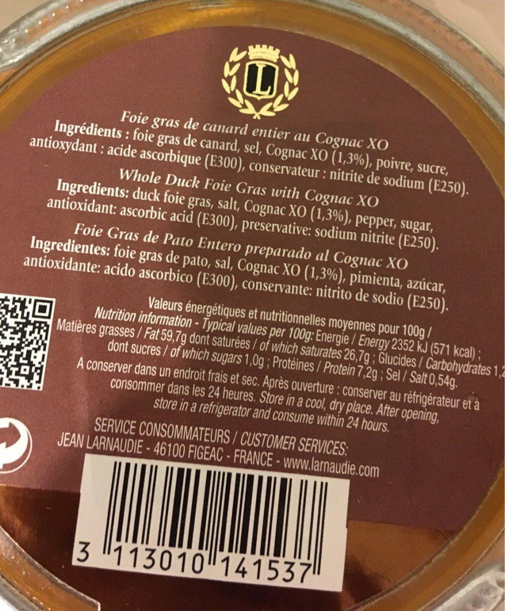 Foie Gras de Canard Entier au Cognac XO - Nutrition facts