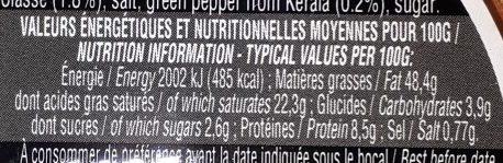 Foie gras entier du sud-ouest - Nutrition facts - fr