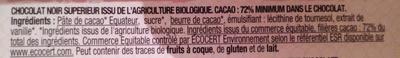 Nature Noir 72% Equateur - Ingrédients