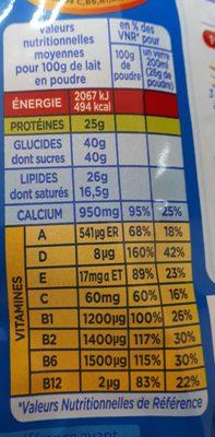 lait en poudre instantané entier - Voedingswaarden - fr