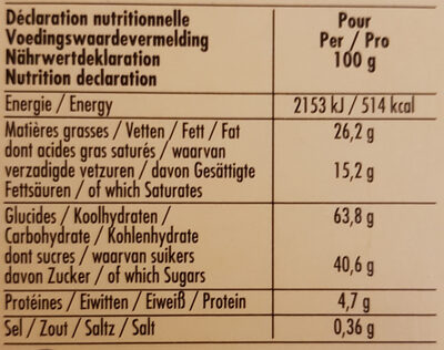 Tea Time - Nutrition facts - fr