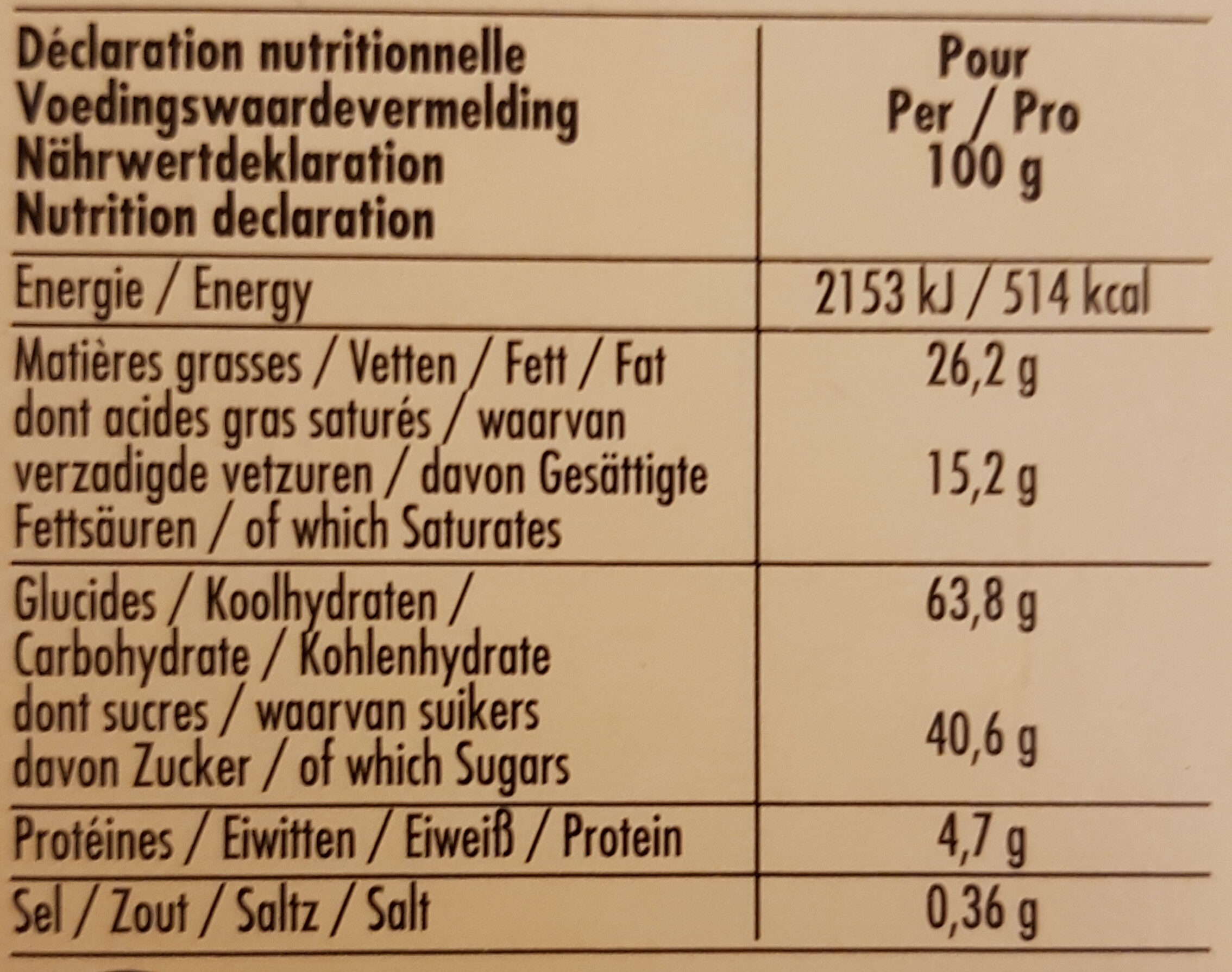 Tea Time - Valori nutrizionali - fr