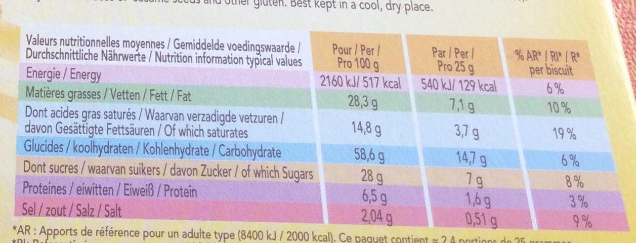 Delacre batons biscuits aperitifs fourres emmental - Informations nutritionnelles - fr