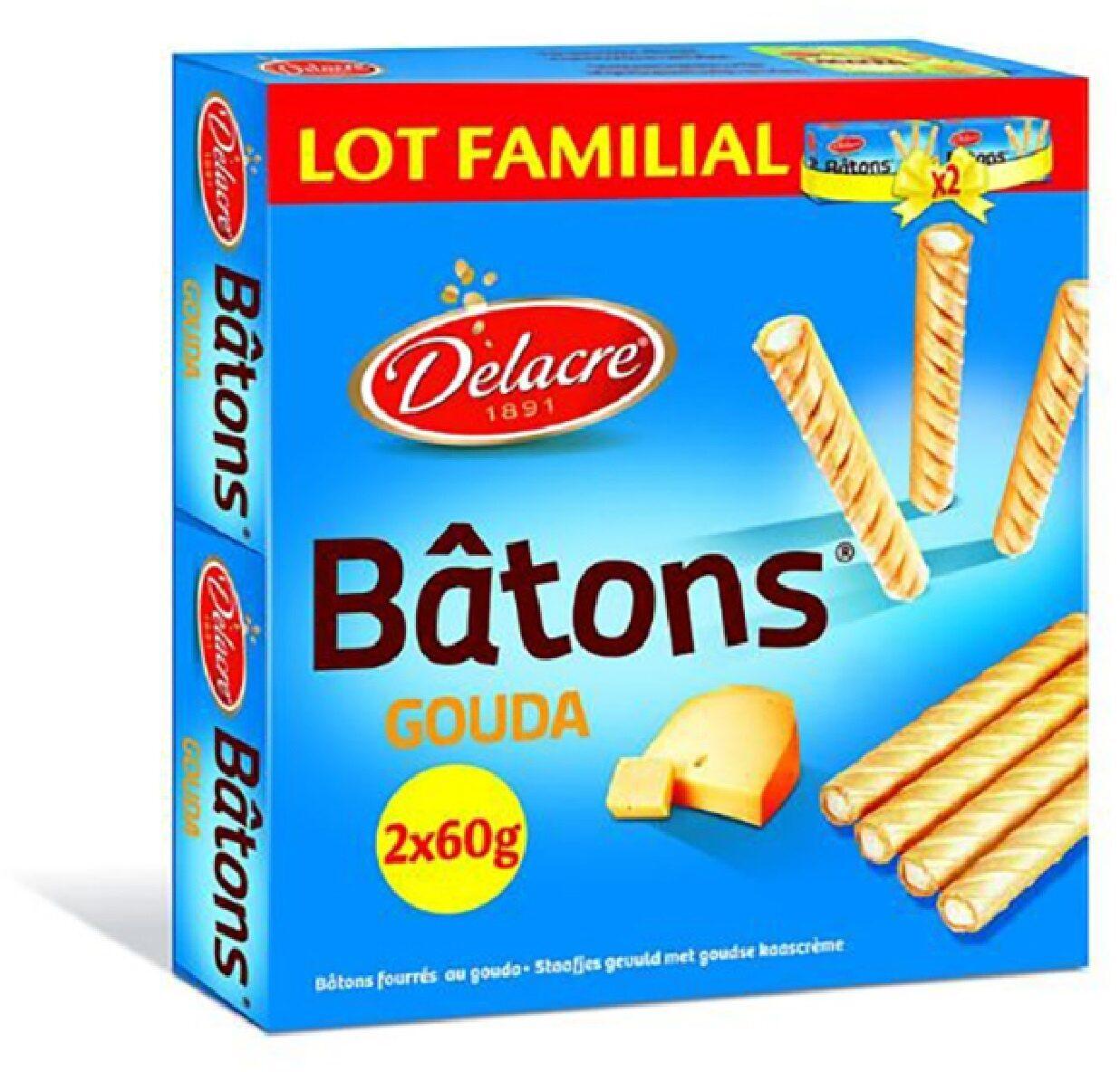 Delacre batons biscuits aperitifs fourres gouda lot familial 2x60g ( - Produit - fr