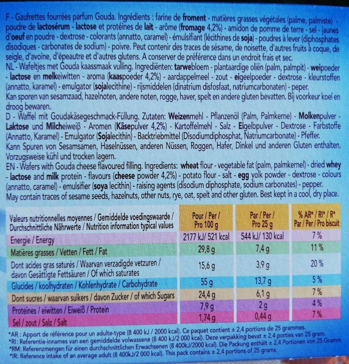Delacre batons biscuits aperitifs fourres gouda lot familial 2x60g ( - Informations nutritionnelles - fr