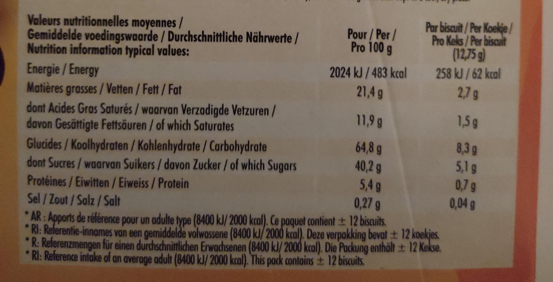 Delichoc tablette chocolat noir - 营养成分 - fr