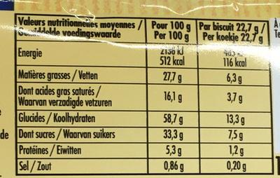 Cookies éclats de chocolat - Valori nutrizionali - fr