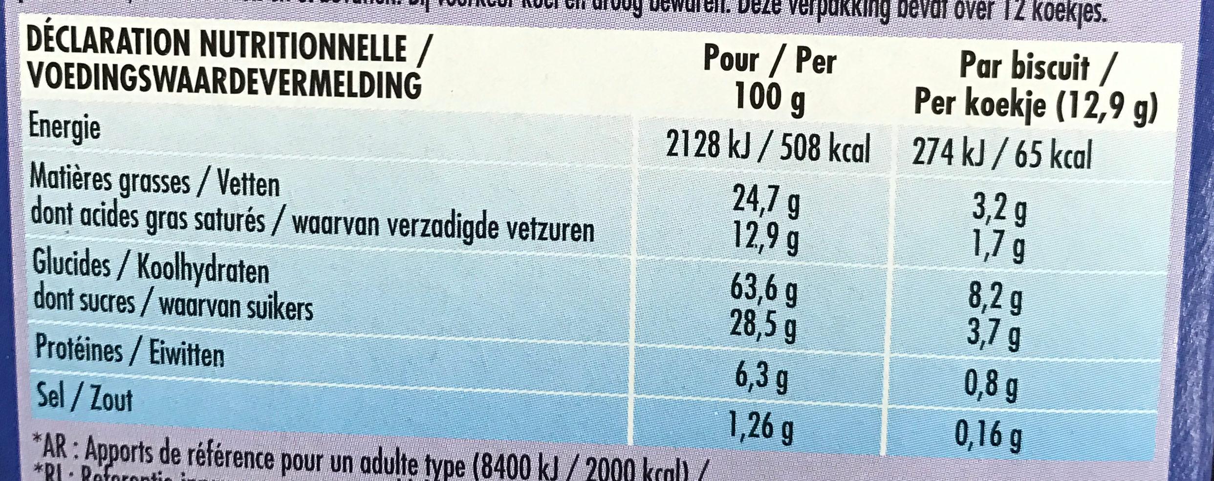 Delichoc sable chocolat lait - Informations nutritionnelles - fr