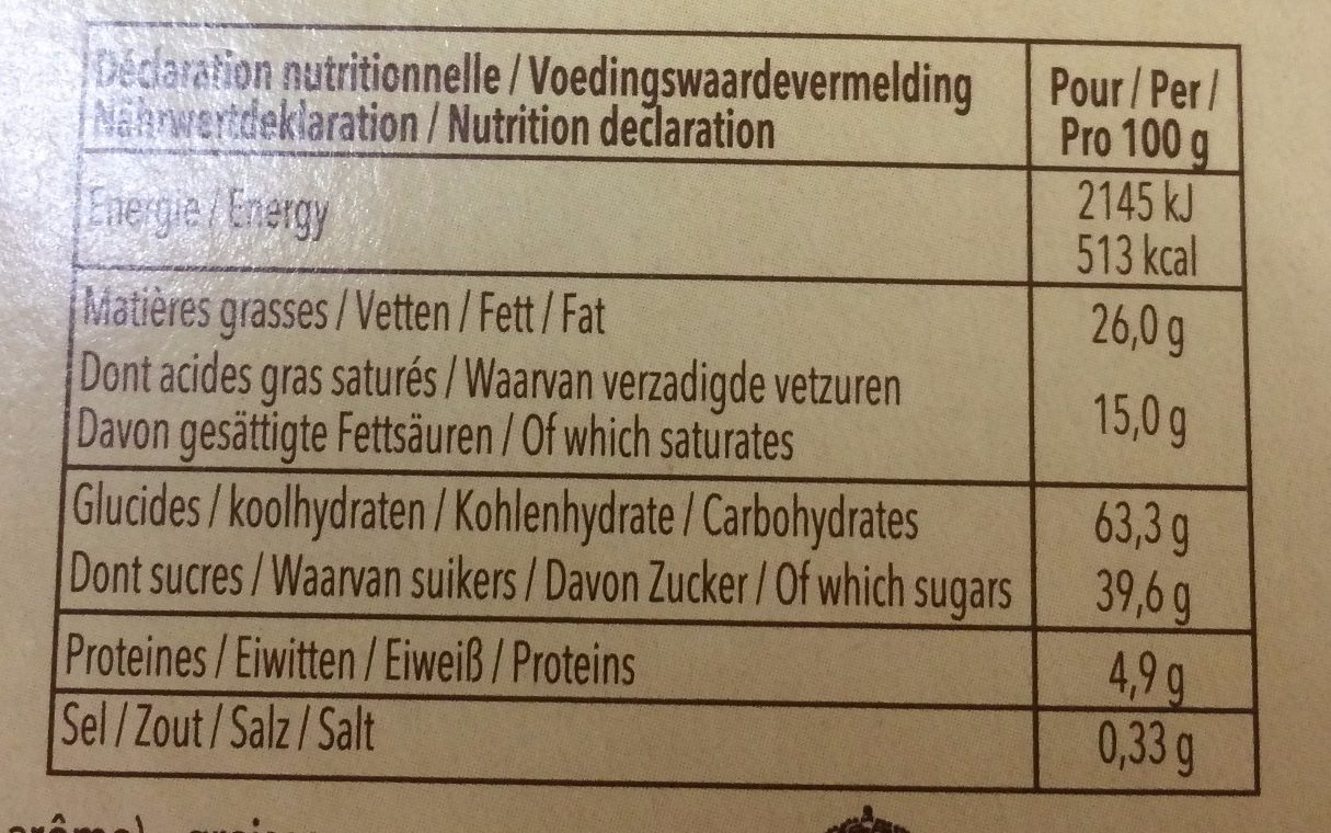 Tea Time Tradition - Nutrition facts - fr