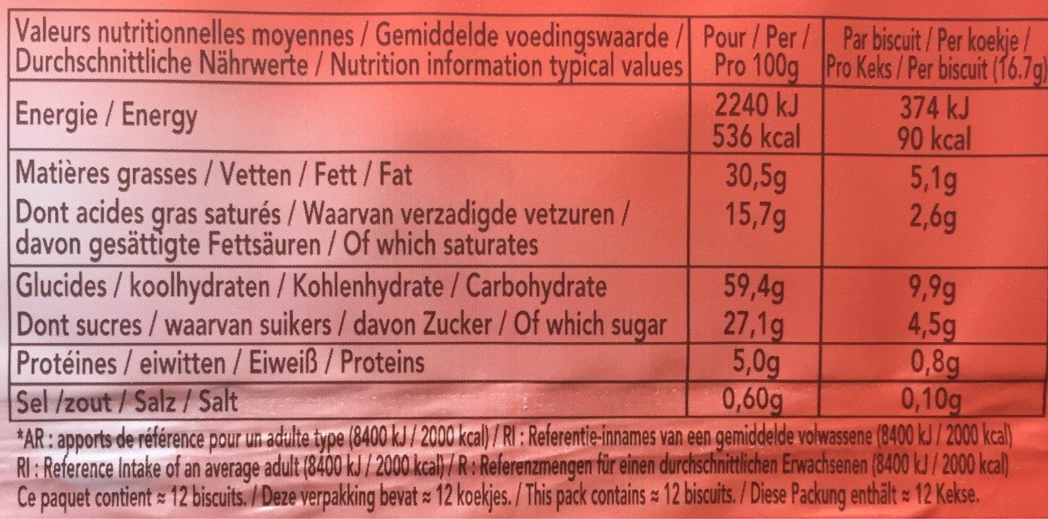 DELACRE le Spirits Noir 200 g - Informations nutritionnelles - fr