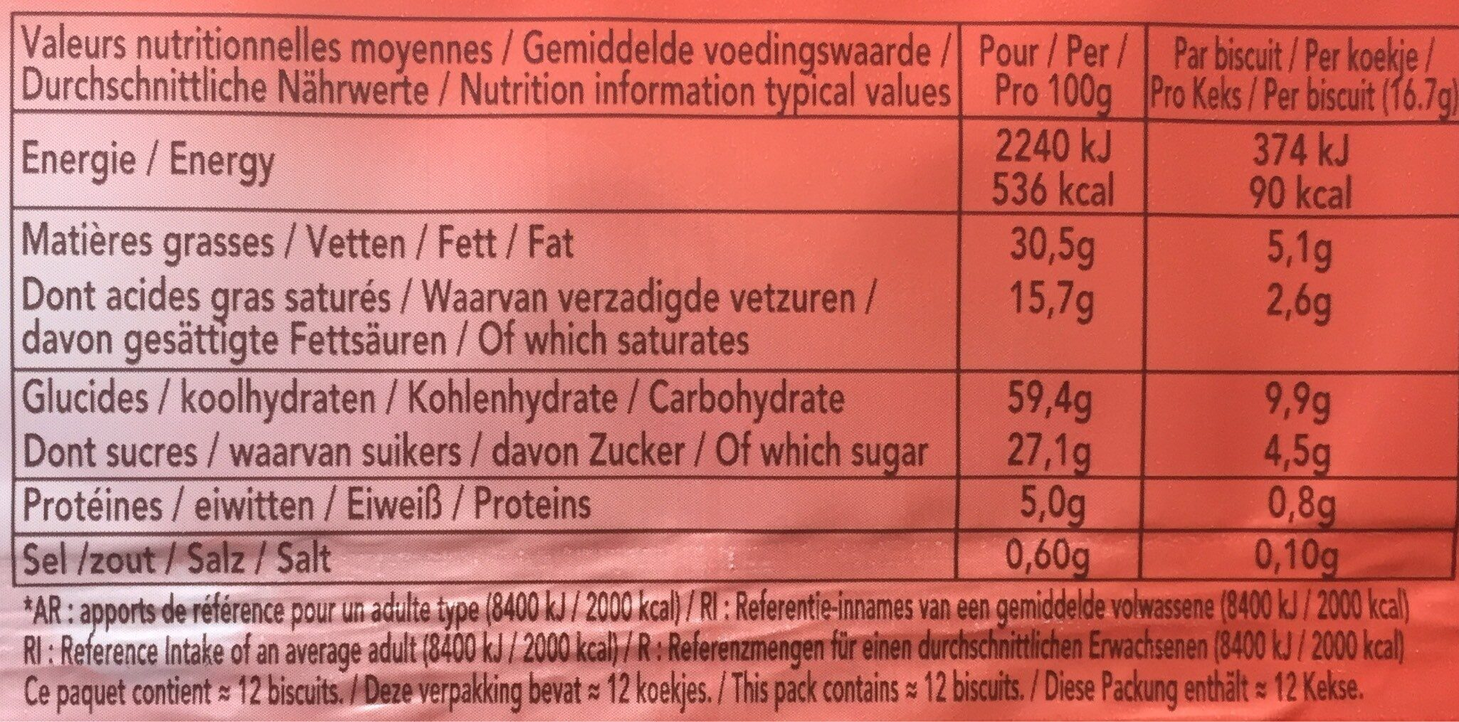 Delacre sprits chocolat noir - Informations nutritionnelles - fr