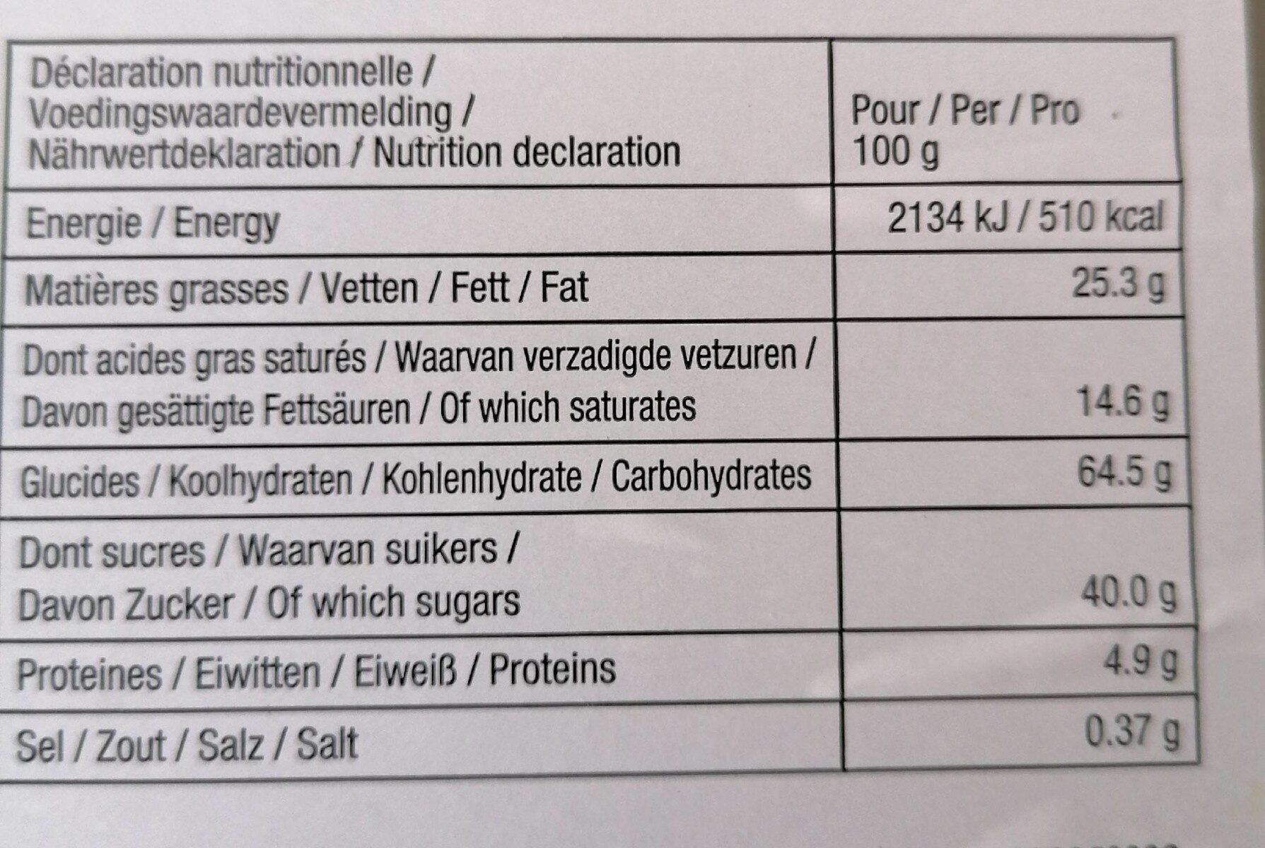 Biscuits - Informations nutritionnelles - fr