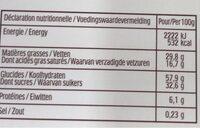 Delacre etoile - Informations nutritionnelles - fr