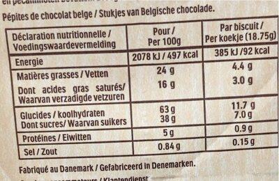 Delacre cookies chocolat - Valori nutrizionali - fr