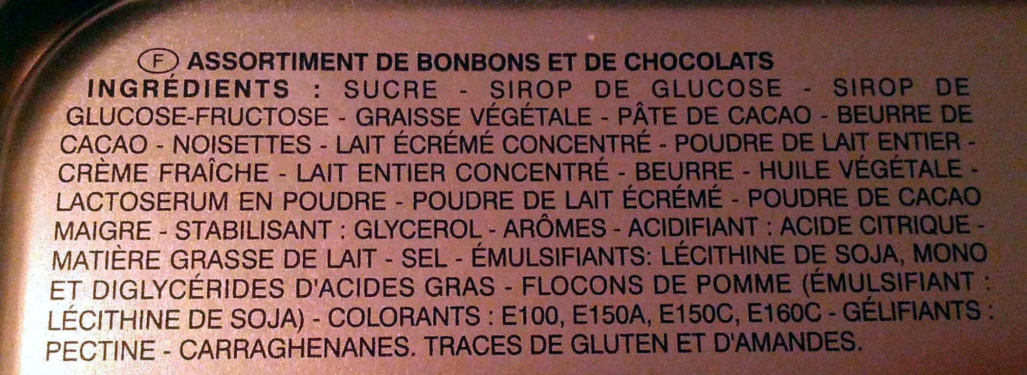 Sélection gourmande bonbons & chocolats - Ingrédients