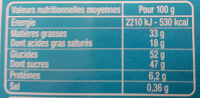Chocolats craquants - Nutrition facts