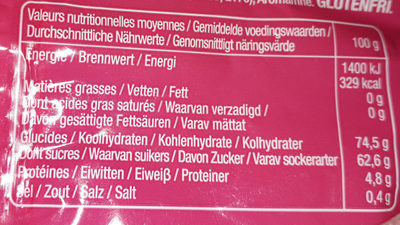 Bubblizz original lutti - Nutrition facts