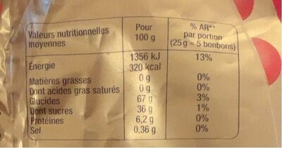 Mini Bubbliz - Informations nutritionnelles - fr