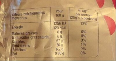 Mini Bubbliz - Información nutricional - fr