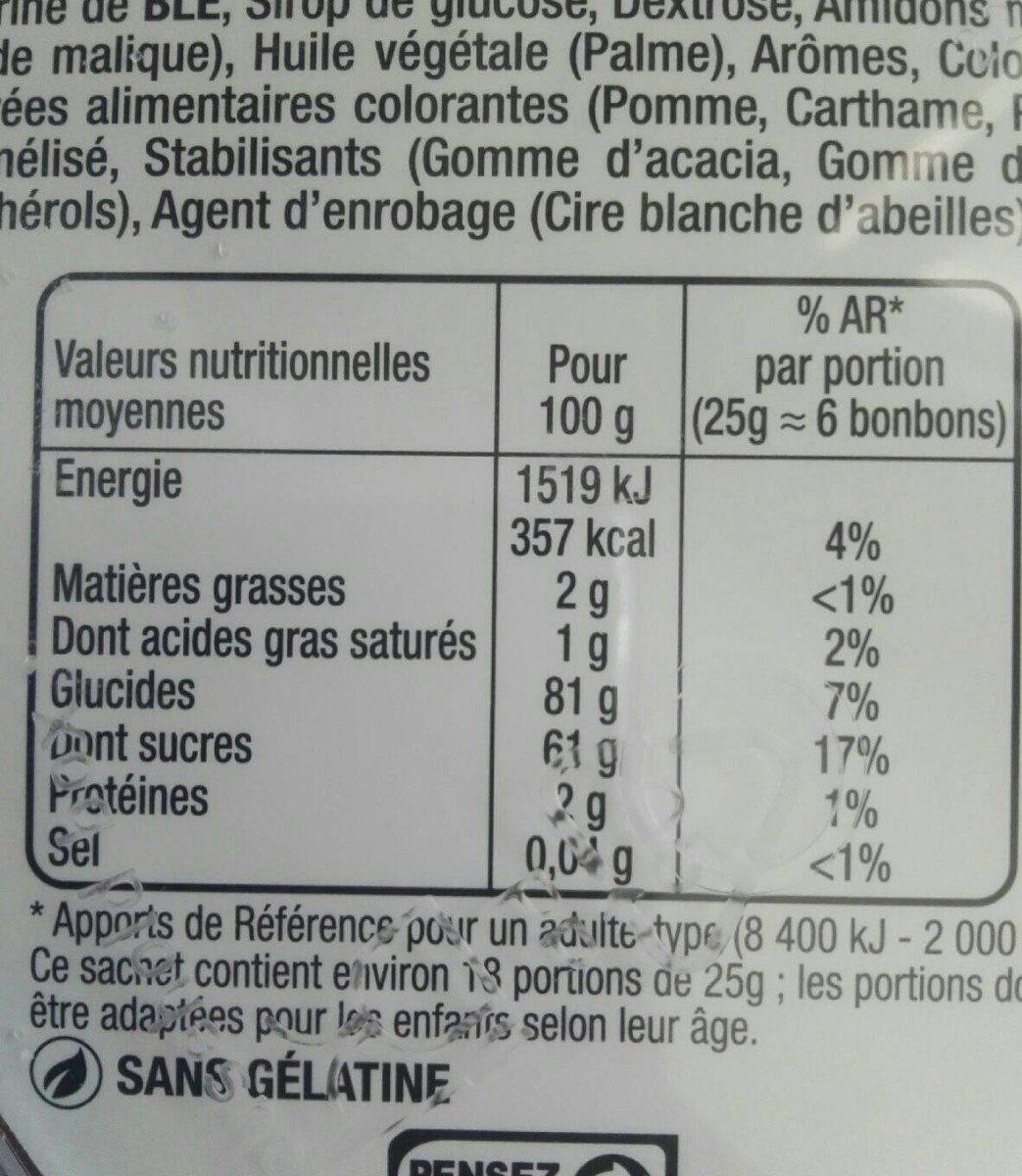 Dooo&fizz - Informação nutricional - fr