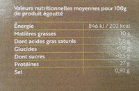 Thon à l'huile d'olive extra bio - Informations nutritionnelles - fr