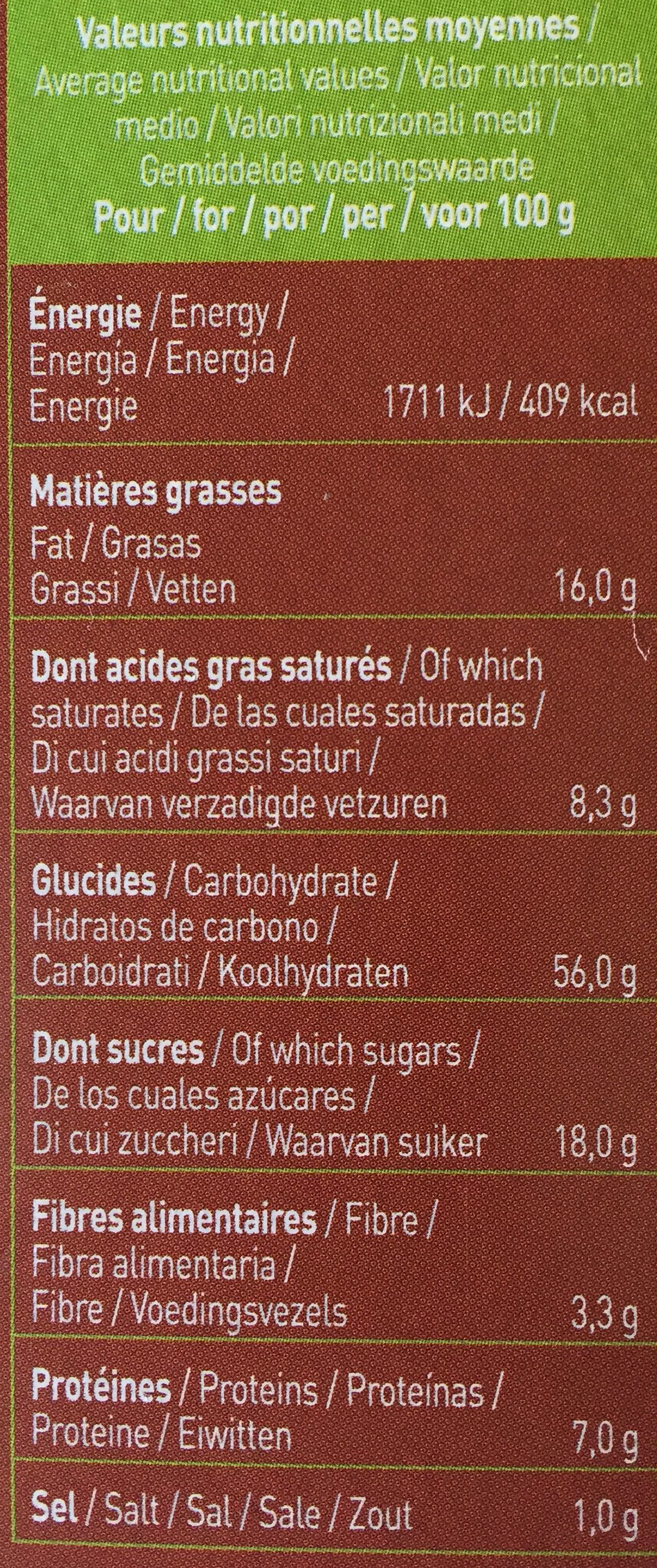 P'tit Beurre aux pépites de chocolat bio - Informations nutritionnelles - fr