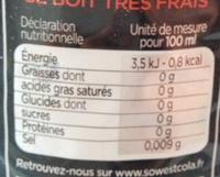 Sowest Cola Zero - Informations nutritionnelles - fr