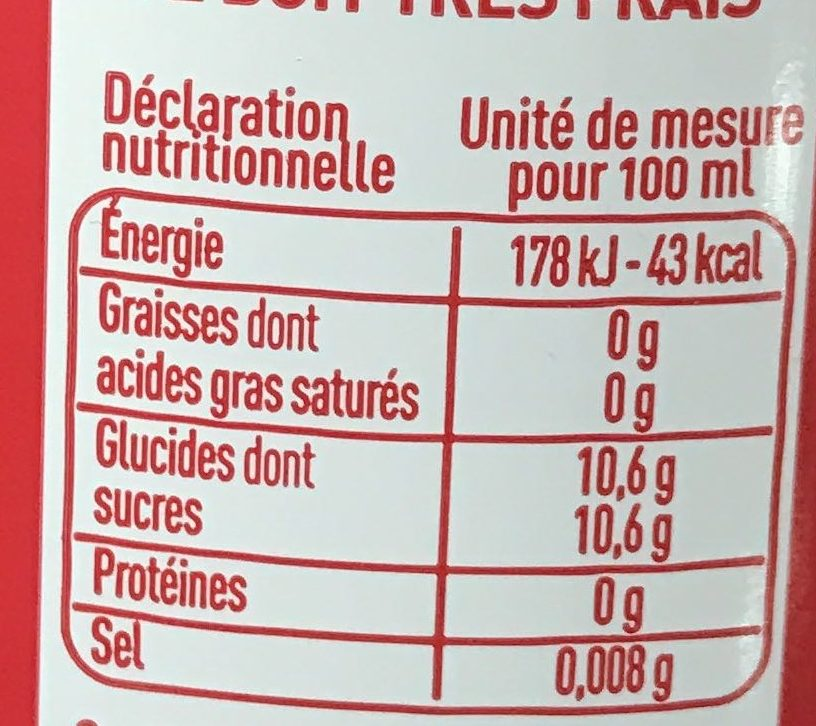 Sowest Cola - Voedingswaarden - fr