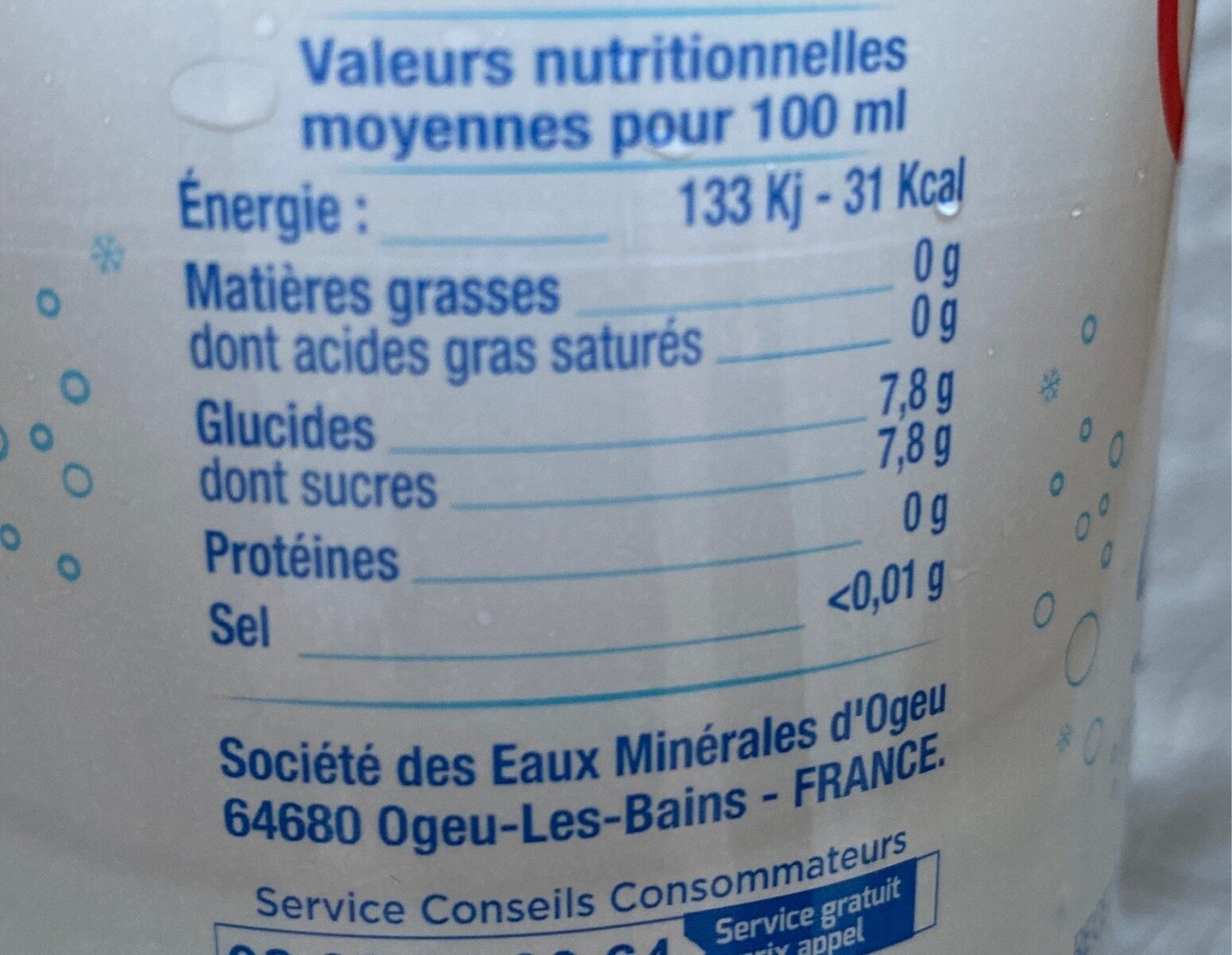 Limonade des neiges - Nutrition facts - fr