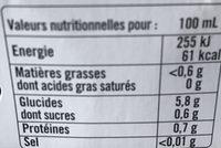 Brune douce et puissante - Valori nutrizionali - fr