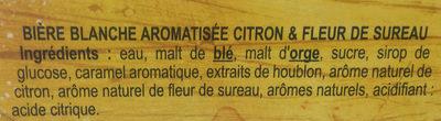 Bière Blanche Citron & fleur de sureau - Ingredients - fr