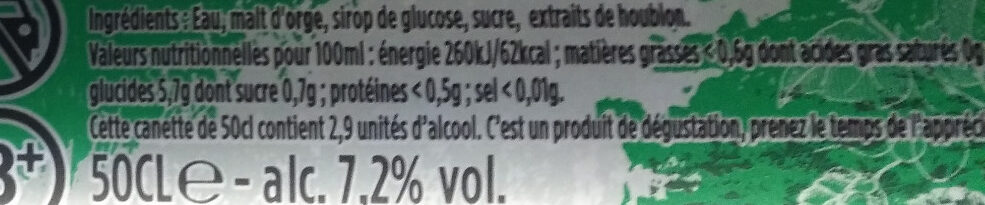 Fischer Trois Houblons Alsaciens - Informations nutritionnelles - fr