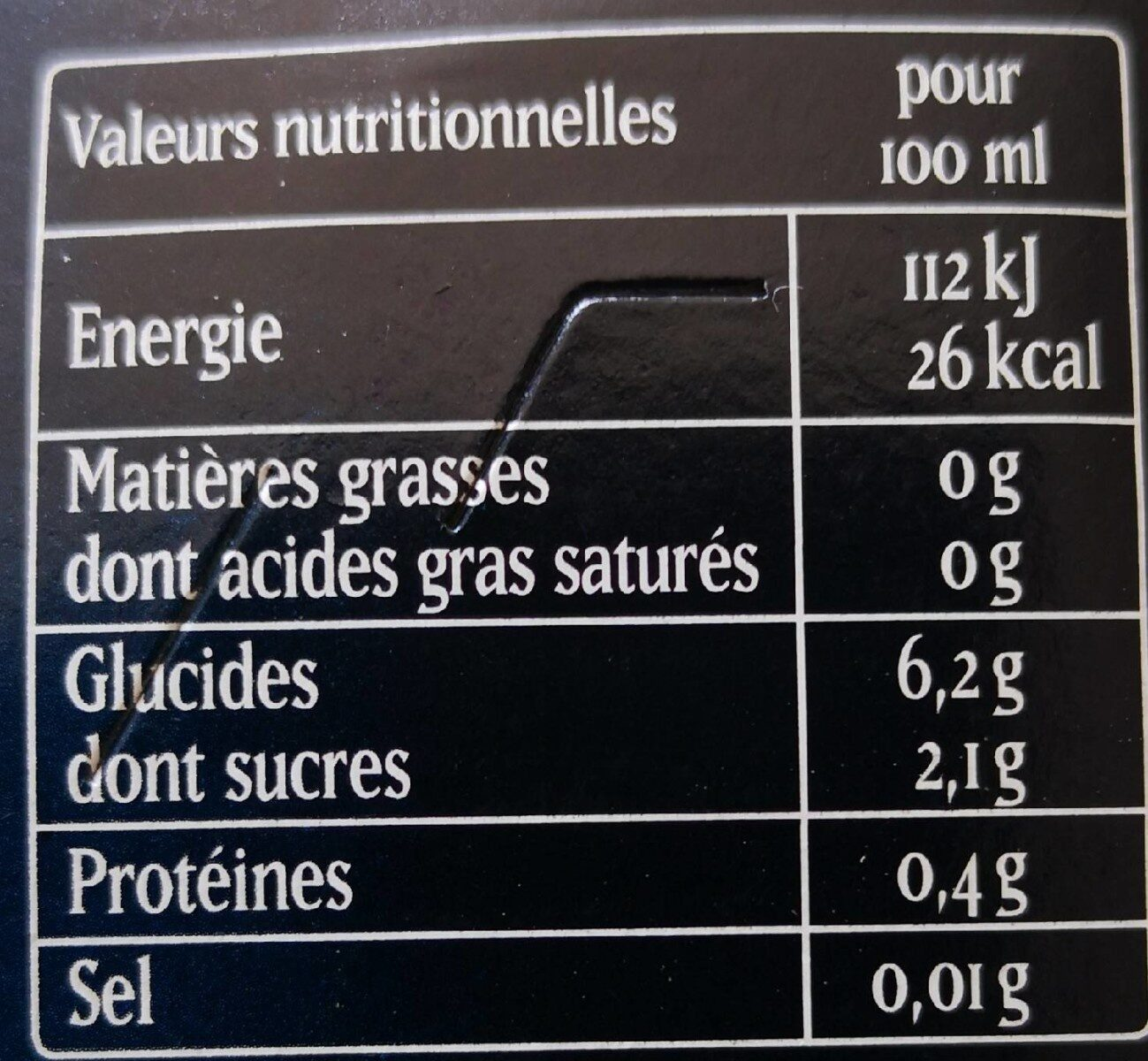 Affligem 0,0% - Valori nutrizionali - fr
