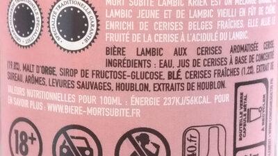 Lambic kriek Bière acidulée et fruitée - Ingrediënten - fr