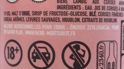 Lambic kriek Bière acidulée et fruitée - Voedingswaarden - fr