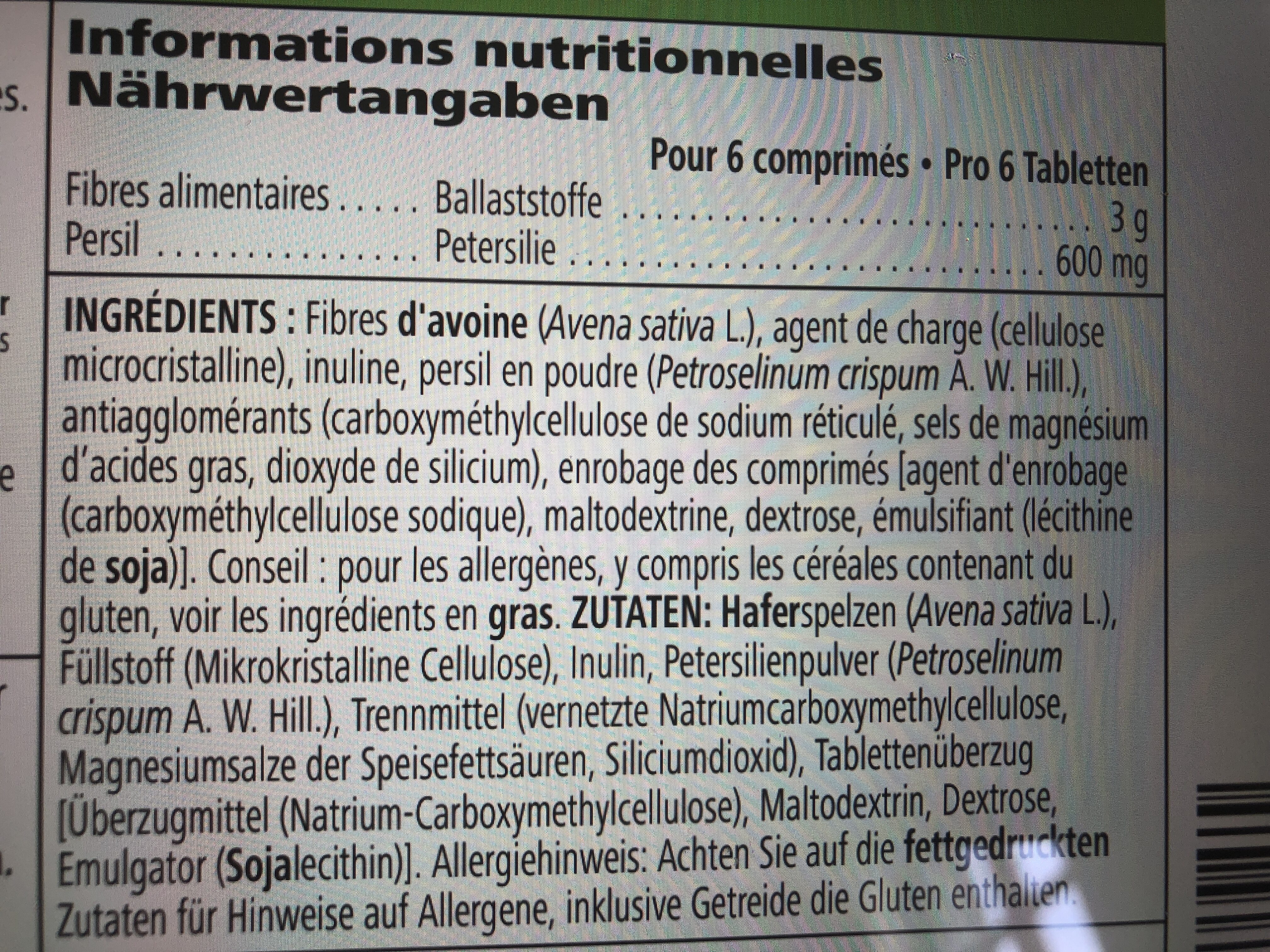 complement a base de fibres - Ingredients - en