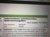 complement a base de fibres - Nutrition facts - en