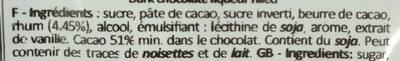 Chocolat fourré liqueur Mojito - Ingrédients - fr