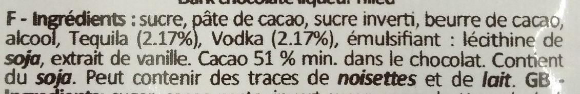 Chocolat fourré liqueur Tequila Vodka - Ingrédients - fr
