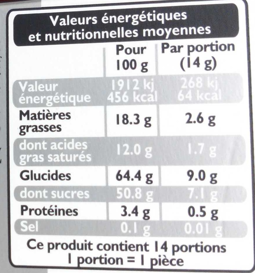 Excellence Chardons - Informations nutritionnelles - fr