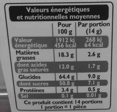 Excellence Chardons - Valori nutrizionali - fr