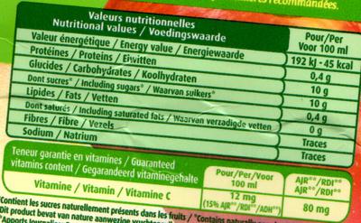 Jus de pomme - Información nutricional