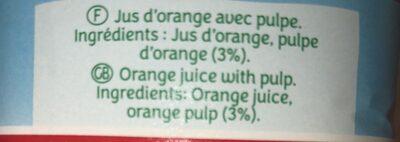 LE PUR JUS Orange avec pulpe - Ingrédients - fr