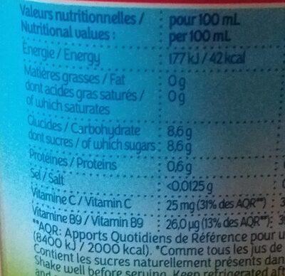 LE PUR JUS Orange avec pulpe - Informations nutritionnelles - fr