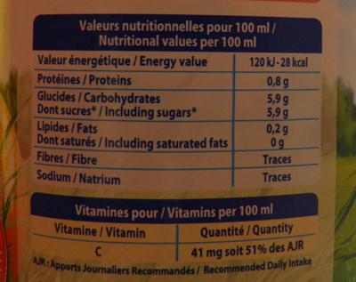 Le Pur Jus Pamplemousse Rose et Blanc Joker - Informations nutritionnelles - fr