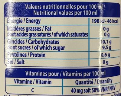 Le pur jus velours orange - Información nutricional