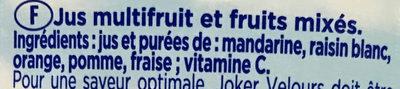 Velours 100 % pur jus & Fruits mixés Cocktail Délices - Ingrédients - fr